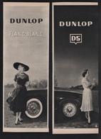 Lot De 2 Pub Papier 1951  Automobile PNEU DUNLOP Usine Montluçon Pneus Flanc Blanc Femme Pin Up - Publicités