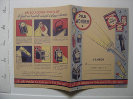 Ancien Protege Cahier PILE WONDER Ne S'use Que Si L'on S'en Sert - Accumulators