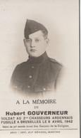 ABL ,Hubert Gouverneur , Fusillé à Bruxelles Le 8 Avril 1942 - Todesanzeige