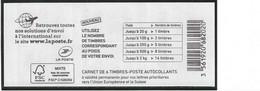 1216A-C3 VARIETE CHIFFRES GRAS CARNET NUMEROTE MARIANNE DE CIAPPA BLEU EUROPE LOGO AVION - Definitives