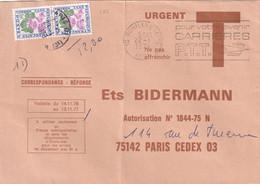"""Lettre-réponse Prépayée """"Ets BIDERMANN"""" Taxée à 2F. (102 Paire) Car Date De Validité Dépassée. (peu Fréquent) - Lettere Tassate"""