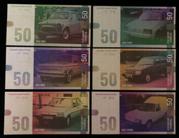 Ukraine - Set 6 Banknotes 50 Hryven 2021 UNC Zaporozhye Automobile ZAZ Souvenir Lemberg-Zp - Ukraine