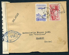 ETIQUETTES  ''CONTROLE  POSTAL  MILITAIRE''  SUR  LETTRE - WW II