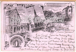 Litho Baumbach (Ransbach, Höhr-Grenzhausen, Westerwald) Wirthschaft Fischer, Strasse, 1899 - Hoehr-Grenzhausen