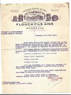 Facture Prunes D'Ente Extra Pruneaux D'Agen Flouch Fils Aîné Rue Jardin Public Bordeaux Usine Tonneins 1931 - Alimentare