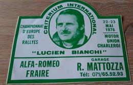 MOTOR CROSS, MOTOCROSS, STICKER AUTO-COLLANT, CHARLEROI 1976, CRITERIUM INTERNATIONAL LUCIEN BIANCHI - Unclassified