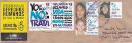 """ARGENTINA. """"DEFENDEMOS LOS DERECHOS HUMANOS, AMNISTIA INTERNACIONAL"""" VIGNETTE. ENVELOPPE CIRCULEE ANNEE 2019.- LILHU - Lettres & Documents"""
