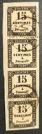 Timbre TAXE N° 3 Avec Belle Oblitération Cachet à Date D'Epoque En Bande De 4 Sur Fragment  TB - 1859-1955 Afgestempeld