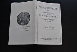 20è ANNIVERSAIRE DES COMBATS LIVRES PAR LE 10è CORPS D'ARMEE à AUVELAIS ARSIMONT Août 14 Guerre 18 Infanterie 48 RI - Belgique