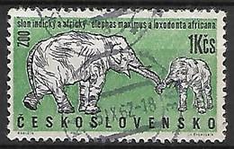 TCHECOSLOVAQUIE    -  1962.   Y&T N° 1217 Oblitéré   .Zoo De Prague.   éléphants - Oblitérés
