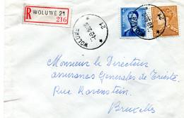 1956 R-enveloppe WOLUWE 21 * (ster) Naar Brussel - Zie Stempels - Gefr. 3 Fr Leopold III + 4Fr Boudewijn - Covers & Documents