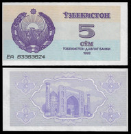 UZBEKISTAN BANKNOTE - 5 SUM 1992 (1993) P#63 UNC (NT#06) - Uzbekistan