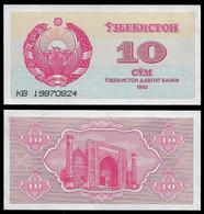 UZBEKISTAN BANKNOTE - 10 SUM 1992 (1993) P#64 UNC (NT#06) - Uzbekistan