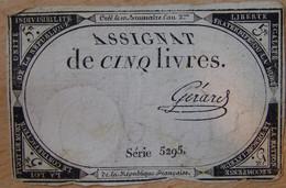 Assignat - 5 Livres FRANCE 1793 Signé GERARD - Assignats