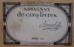 Assignat - 5 Livres FRANCE 1793 Signé ROUSSEL - Assignats