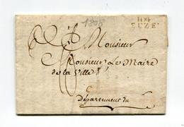 !!! DEPT CONQUIS, 104 ERIDAN, MARQUE POSTALE DE SUZE SUR LETTRE DE 1808 DU MAIRE D'OULX AVEC TEXTE - 1792-1815: Dipartimenti Conquistati
