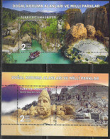 TURKEY, 2019, MNH, NATIONAL PARKS, MOUNTAINS, THEATRES, ANCIENT RUINS, BRIDGES, RAFTING, 2 S/SHEETS - Other