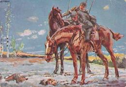 AK Frühling 1915 - L. Usabal - Soldaten Und Toter Im Schnee -  Feldpost Hotel Reichsadler München 1916 (55861) - Guerre 1914-18