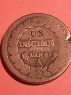 UN Décime Dupré, Modification Du 2 Décime, AN 4 A - 1789-1795 Period: Revolution