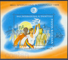 1985 Intl. Youth Year, Three Races Int. Solidarity, Dam, Canal, Oil, Romania, Bl.214, MNH - Nuevos