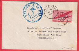 POSTE AERIENNE MILITAIRE N°31 ORAN  ALGERIE + SERVICE A LA MER WASHINGTON DC ETATS UNIS - Military