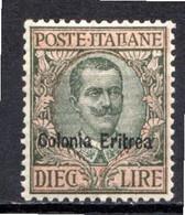 ERYTHREE - (Colonie Italienne) - 1908-16 - N° 36 - 10 L. Olive Et Rose - (Victor Emmanuel III) - Eritrea