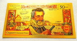 "★  BILLET POLYMER "" OR "" AVEC COULEURS DU 50 NOUVEAUX FRANCS HENRI IV ★ - 50 NF 1959-1961 ''Henri IV''"