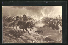 AK The Battle Of Waterloo, Cavalry Attacking Line Of Infantry - Guerres - Autres