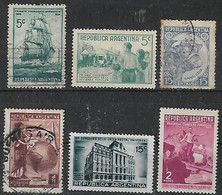 1939 Argentina Barco-vivienda Popular-toro-UPU Tierra De Promision 6 V. - Usados