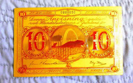 "★  GROENLAND : BILLET POLYMER "" OR "" AVEC COULEURS DU 10 KRONE ANNEES 50 ★ - Greenland"