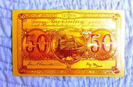 "★  GROENLAND : BILLET POLYMER "" OR "" AVEC COULEURS DU 50 KRONE ANNEES 50 ★ - Greenland"