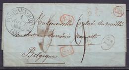 """LAC Càd PONT-AUX-MOINES /1 AOUT 1837 Pour ATH - Griffes [SR] & [5.R] - Boîte """"OR"""" - Port """"9"""" (au Dos: Càd Arrivée ATH + - 1830-1849 (Independent Belgium)"""