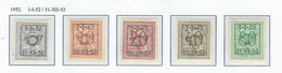 "Préo  COB Série 42  ""1-I-52 / 31-XII-52""  TYPE D   (USED) - Typo Precancels 1951-80 (Figure On Lion)"
