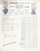 Facture Automobile , 1967 , Garage PEUGEOT ,MONORY Et Cie, 86 ,LOUDUN ,Vienne , Frais Fr 1.65e - Automobilismo