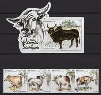 Malaysia (2021) - Set + Block -  /  Fauna - Cattle Breeds - Unusual Shape - Gold - Cows