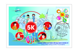Vietnam Viet Nam Maxi Cards Issued On 29th Of Apr 2021 : LIVING SAFELY WITH COVID-19 PANDEMIC / VACCINATION - Vietnam