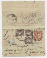 MAZELIN 2FR50 BLOC DE 3 SUR CARTE PNEUMATIQUE ENTIER 6FR CHAPLAIN PARIS 116 3.5.1947 - 1945-47 Ceres De Mazelin