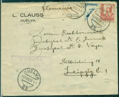 GUERRE D'ESPAGNE Lettre HUELVA 19.2.1937 Pour LEIPZIG (allemagne) Affr TP Coupé En Diagonal + Censure B/TB Rare - Zonder Classificatie