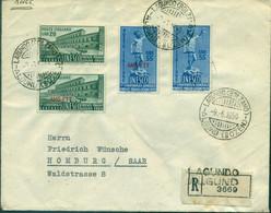 ITALIE N°556 / 57 + TRIESTE 68/69 (unesco) Sur REC Pour La SARRE Les Tp C:37 € - Marcofilie