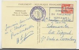 GANDON 12FR ORANGE SEUL CARTE CONGRES DE VERSAILLES 17.12.1953 POUR LUXEMBOURG TARIF SPECIAL - 1945-54 Marianne (Gandon)