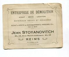 Carte Pub  Reims  : Entreprise De Démolition Maison Stoyanovitch   VOIR DESCRIPTIF  §§§§ - Cartoncini Da Visita