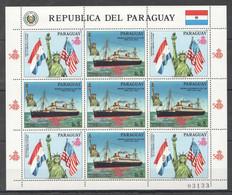 EC139 1986 PARAGUAY TRANSPORT SHIPS STATUE OF LIBERTY USA MICHEL 25 EURO 1KB MNH - Ships