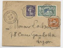 N°143+136+141 LETTRE TIMBRE A DATE EXPon DU TIMBRE POSTE FRANCAIS 12.6.1907 PARIS - 1877-1920: Semi-moderne Periode
