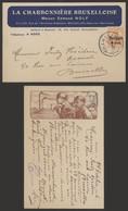 """Guerre 14-18 - OC15 Sur Carte Imprimée """"La Charbonnière Bruxelloise"""" (Charbonnage) De Laeken > Bruxelles - [OC1/25] Gen. Gouv."""