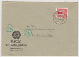 S920 - KOLMAR - 1944 - Timbre De Service 8 Pfg - Entête NSDAP - Tarif Lettre Locale - COLMAR - - Elsass-Lothringen