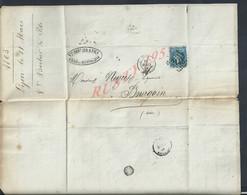 LETTRE COMMERCIALE DE 1865 SUR TIMBRE NAPOLEON Vve BERLIER & FILS VERRE A VITRES  CLOCHES À JARDIN ECT POUR BOURGOIN : - 1863-1870 Napoléon III Con Laureles