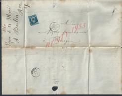 LETTRE COMMERCIALE 1860 SUR TIMBRE NAPOLEON A. BERLIER VERRE A VITRES BOUTEILLES CLOCHES À JARDIN À LYON POUR BOURGOIN : - 1862 Napoléon III