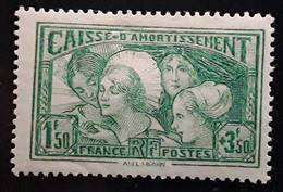 France 1931, Caisse D'amortissement,Coiffes Regionales,Yvert 269,1f50 + 3 F 50 Vert Jaune, Neuf ** MNH TB Cote 350 Euros - Sinking Fund