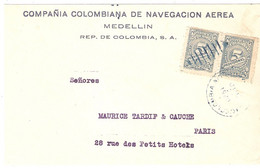 DEVANT LETTRECOMPAGNIE COLOMBIENNE DE NAVIGATION AERIENNE . MEDELLIN . POUR FRANCE .1926.  TIMBRES 2 X N° 239 - Colombia