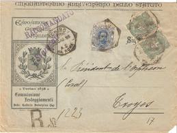 ENVELOPPE Recommandée ILLUSTREE EXPOSITION TORINO 1898 Pour La FRANCE ; Timbres Paire  58 + 61 ; - Storia Postale